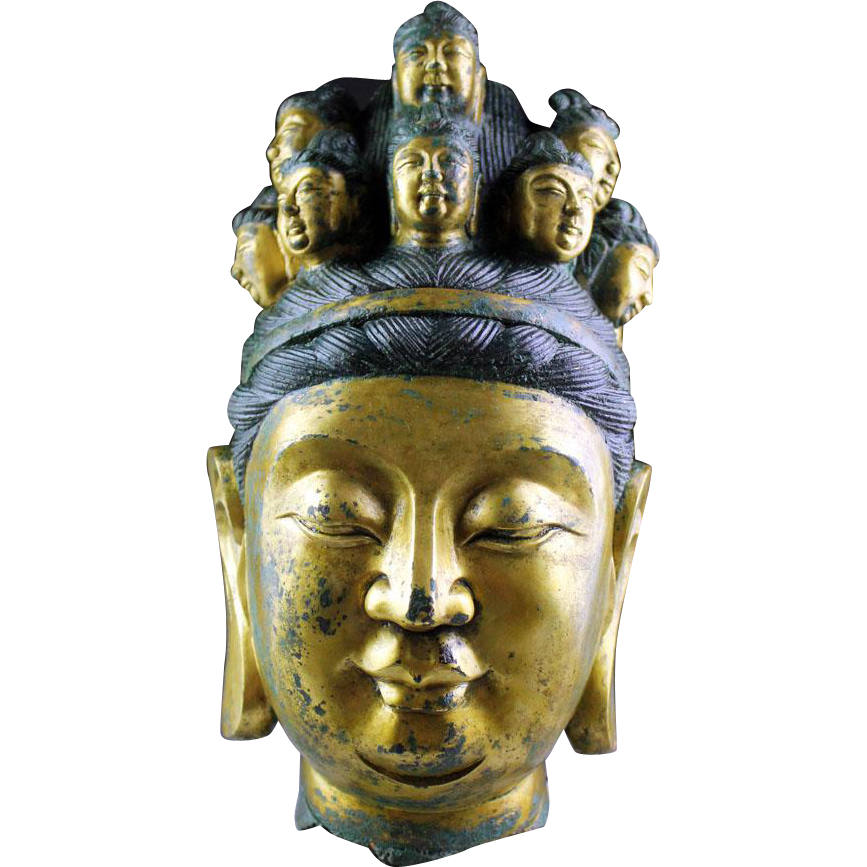 Exceptional large and antique Chinese Gilt bronze head of Guanyin!