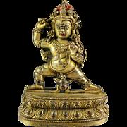 Beautiful Antique Sino-Tibetan bronze gilt figure of Deity!