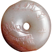 Superb antique Chinese Nephrite Jade white & pink Bi Disc!