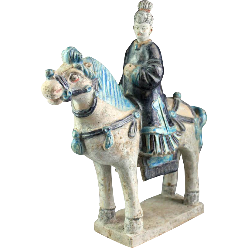 Rare Chinese Female pottery rider Ming Dynasty / w TL test!