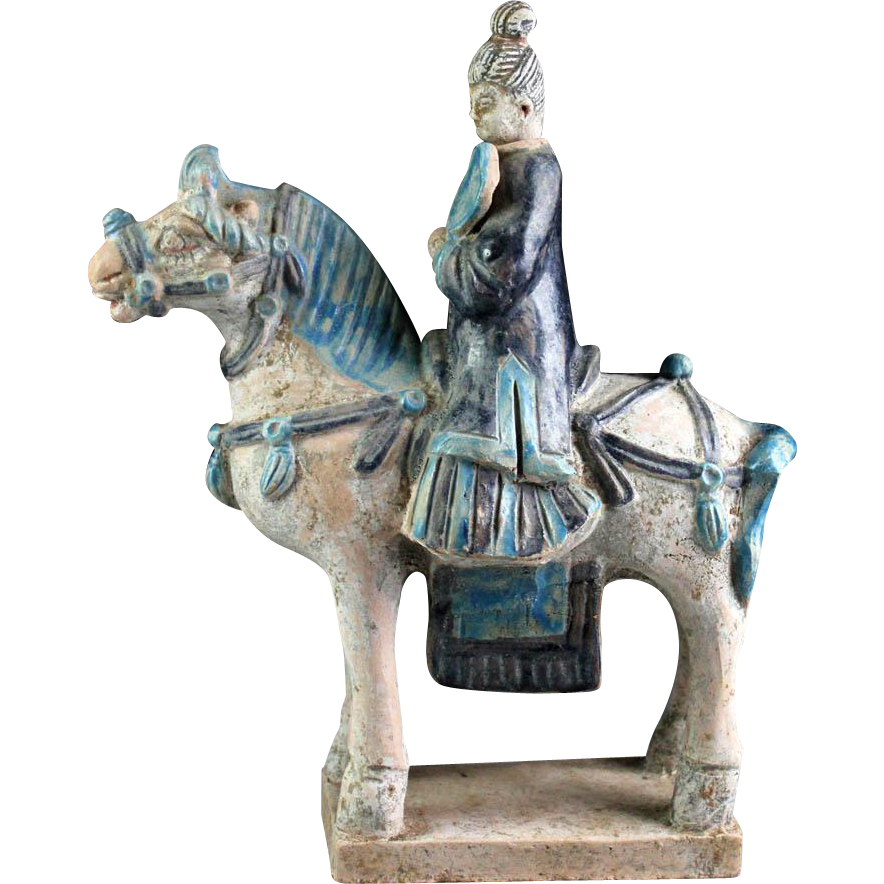 Rare Chinese Female tomb pottery rider Ming Dynasty