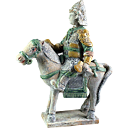 Rare Chinese Ming Tomb pottery figure of horseman w two axes!