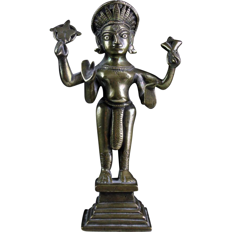 Indian Hindu bronze or brass figure of the standing Vishnu, 18th.c.!