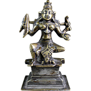 Early South Indian bronze figure of Godess Durga, 18th. century.