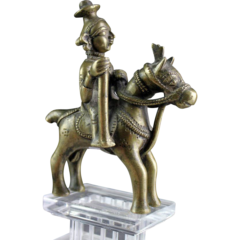 Brass Horse-Mounted Aiyanar, Tamil Nadu, South India, 18th. century