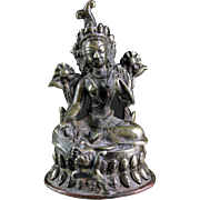 Silvered bronze Buddhist figure of Tara, Northern India, 18th. century AD!