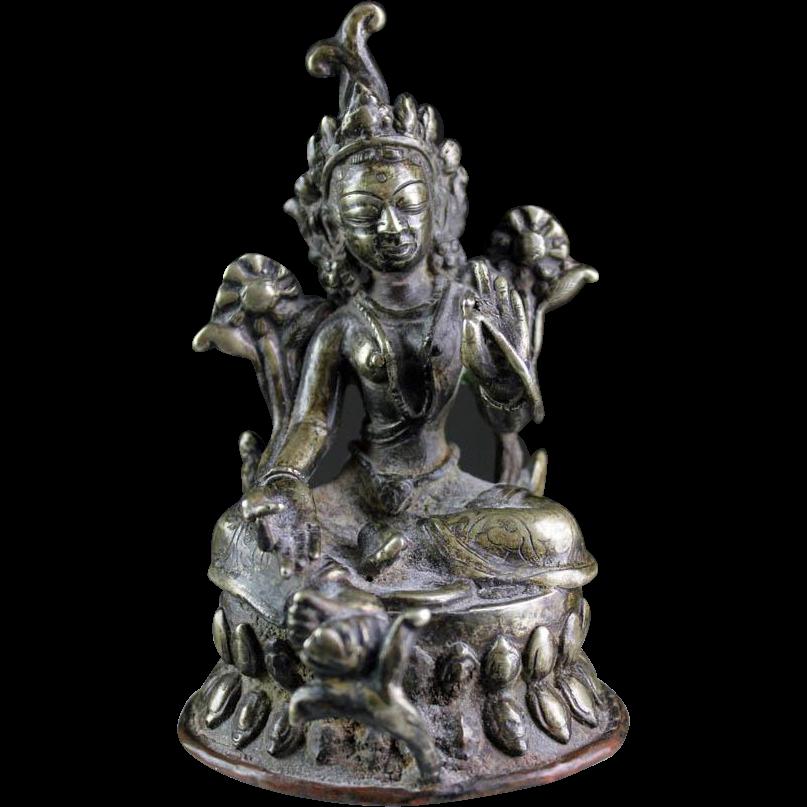 Silvered bronze Buddhist figure of Tara, Northern India, 18th. century AD!