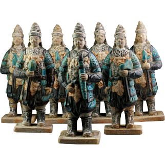Rare & superb set of 7 Chinese Ming Dynasty tomb pottery soldiers!