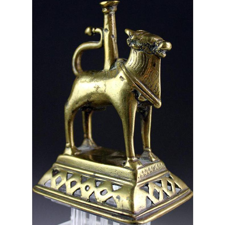 Antique Indian Hindu Brass Figure of Nandi Bull of Shiva, 19th. cent.