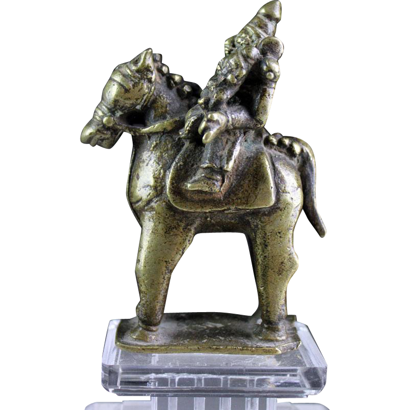 India, Hindu bronze figure of Khandoba and Mhalsa, 18th. cent.