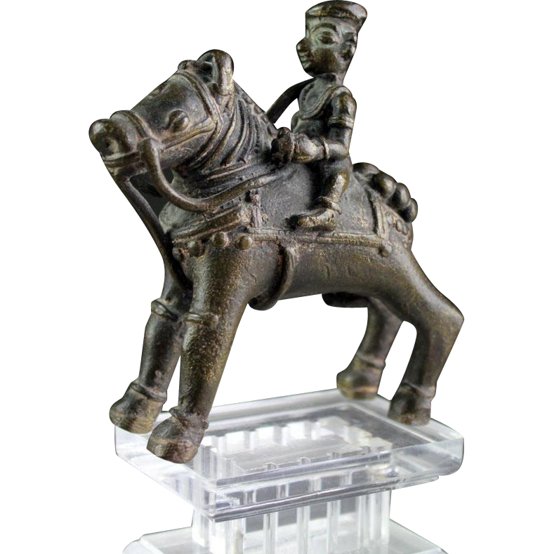 Bronze horse-Mounted Guardian warrior, South India, ca. 18th. cent.