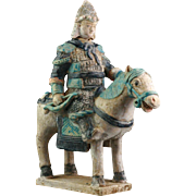 Rare Chinese Ming Tomb pottery figure of horseman w Bow!