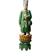 XL & superb male Ming Dynasty pottery attendant on lotus throne!