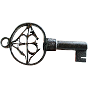 Rare Gothic Renaissance Iron key with inlays of copper, Venetian 15th. cent.