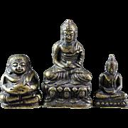 Lot of three rare Thai Buddhist miniature bronze Buddhas!