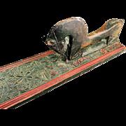 Exceptional Danish Horse handle Oak Mangle Board, ANNO 1842!
