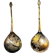A beautiful Renaissance Latten bronze spoon w Pine finial, England, 16th. cent.