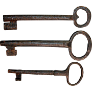 Set of three Large Early European Iron keys, 17th.-18th. century!
