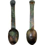 Early European bronze spoon, medieval, 10th.-14th. century - rare!
