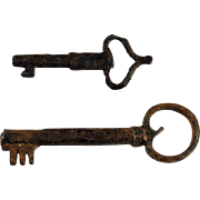 Pair of European Iron Keys, medieval-early renaissance!