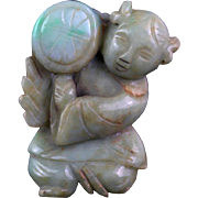 Choice Chinese Jadeite Jade Pendant in the shape of a Boy