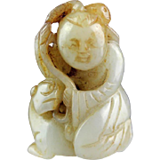 Beautiful Chinese jade carving in white Nephrite of boy on lion!