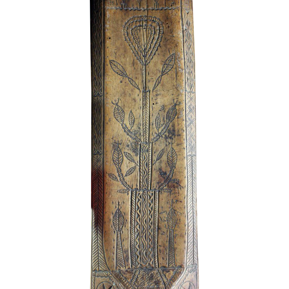 A superb Early Danish Wooden Mangle Board, dating 1727!!