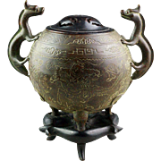 Chinese Late Ming bronze incense burner, battlescene!!