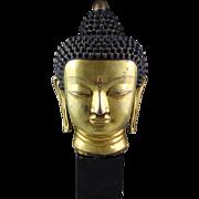 Lifesize Gilt bronze Buddha head, Late Ming-Qing Dynasty