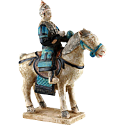 Chinese Ming Tomb pottery figure of military Horseman w. long Mace!