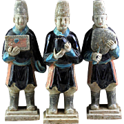 Set of three superb Chinese Ming Dynasty tomb pottery attendants!