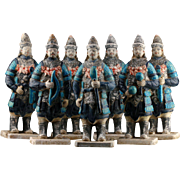 Superb group of 7 Chinese, Ming Dynasty pottery tomb soldiers!