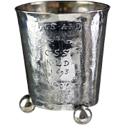 Early 17th. cent. European, Danish Baroque Silver Beaker on legs 1693!