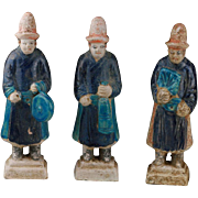 A set of three Chinese Ming Dynasty Pottery Attendants, 1368-1644 AD!