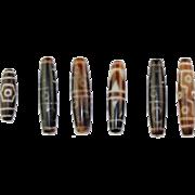 Set of 6 large Antique Tibetan / Chinese Dzi Agate Beads!