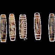 Rare set of 5 large Antique Tibetan Dzi Beads - gem!