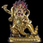 Beautiful Sino-Tibetan Gilt bronze Vajrapani figure!