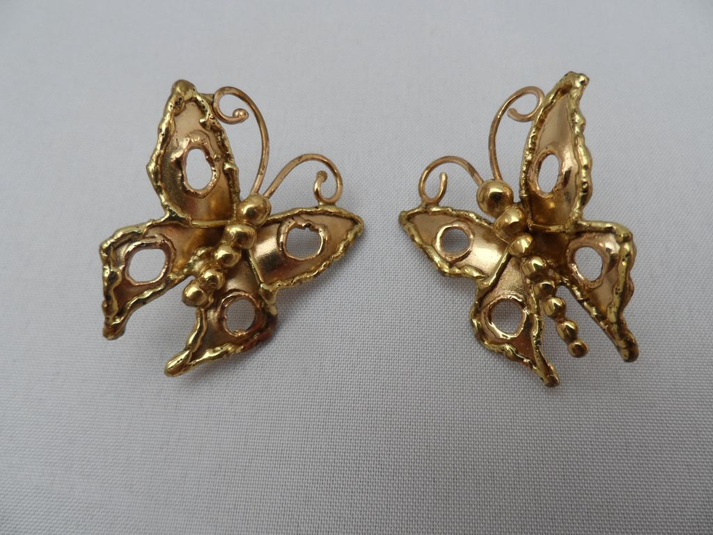 gold tone butterfly post earrings from rubylane sold on