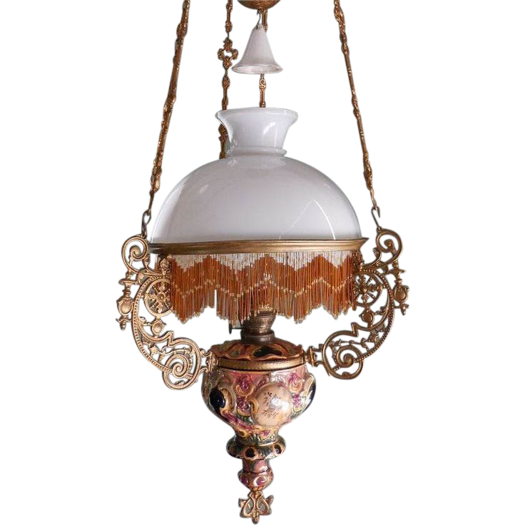 FREE SHIPPING! Antique Majolica hanging oil lamp chandelier ...