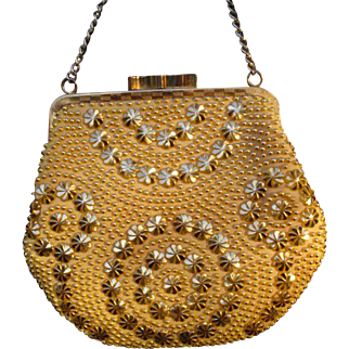 Vintage Pearl Bead and Studded Gold Evening Bag