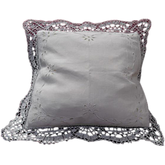 19th Century French Bobbin Lace Cushion Covers