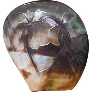 1920s Tahitian Carved Pearl Shell