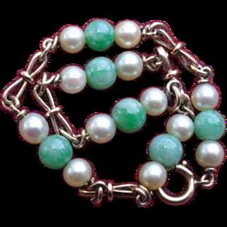 Vintage Jade and Pearl 18ct Gold Link Bracelet