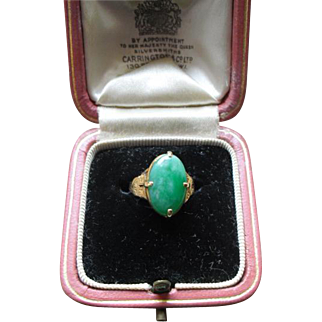 1930s Fine Apple Green Chinese Jade RIng