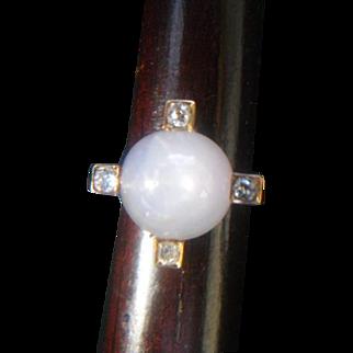 Stunning Art Deco Grey/Blue Star Sapphire and Diamond Ring