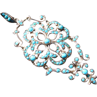 Vintage/Antique Austrian Turquoise Bead on Silver Pendant