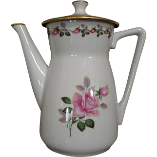 Vintage French Apilco Rose Coffee Pot