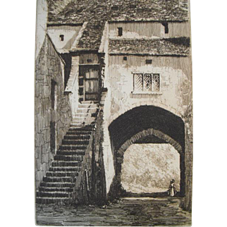 'La Falaise' etching by Edgar James Mayberry