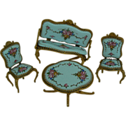 Old Vintage Ormolu set with Enamel and hand painted flowers.