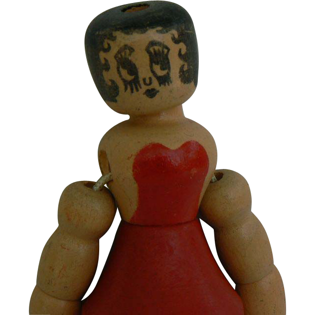 1930's wood Betty Boop Doll, Marked LooK